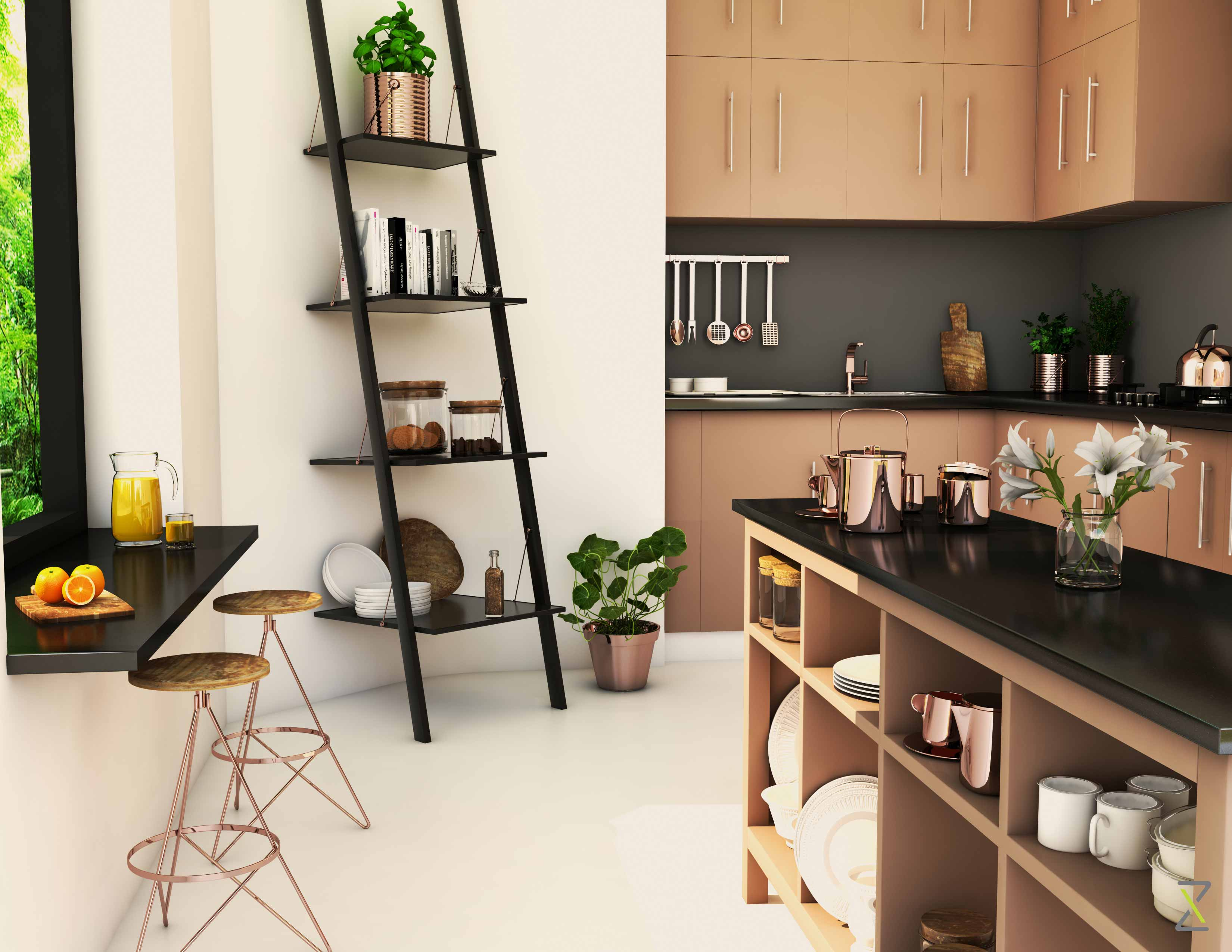 Designed by zeitgeist we have incorporated clean lines and a greige palette but have introduced copper fittings and accessories to retain an indian
